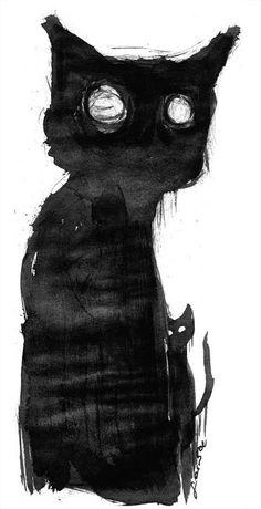 i by NingyouJoururi.de… on Kotek.i by NingyouJoururi.de… on Oc Pokemon, Dark Drawings, Black Cat Art, Macabre Art, Arte Horror, Creepy Art, Weird Creatures, Cat Drawing, Monster