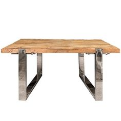 Madox Reclaimed Elm Side Table with chrome legs  - Modish Living Reclaimed wood side table