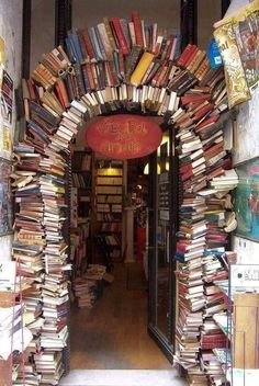 """This book arch is the entrance of a book store """"Le Bal des Ardents"""" in Lyon (Rue Neuve), France. (Picture via Breathing Books) - travel"""