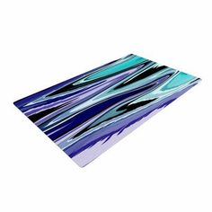 East Urban Home Nika Martinez Beach Waves Abstract Teal Area Rug Rug Size: 4' x 6'