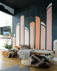 Contemporary interior design - More Interior Trends To Not Miss. - Home Decoration - Interior Design Ideas Gravity Home, Floor Murals, Painted Floors, Contemporary Interior Design, Geometric Wall, Simple Colors, New Wall, Wood Pieces, Decoration