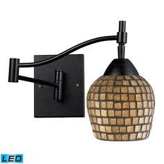 10151/1DR-GLD-LED   Celina 1 Light LED Swingarm Sconce In Dark Rust And Gold Leaf - 10151/1DR-GLD-LED