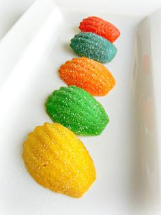 Sugar Swings! Serve Some: rainbow madeleines for a virtual baby shower...!