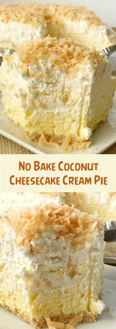 Coconut cream pie with a cheesecake twist. Easy and simple thanks to the coconut pudding mix and Nilla wafer crust. Its a no bake pie so its perfect to make the day ahead to save time! Coconut cheesecake cream pie is a must make for Thanksgiving dessert. Desserts Nutella, 13 Desserts, Delicious Desserts, Dessert Recipes, Coconut Desserts, Easy No Bake Desserts, Coconut Cheesecake, Cheesecake Recipes, Cream Pie Recipes