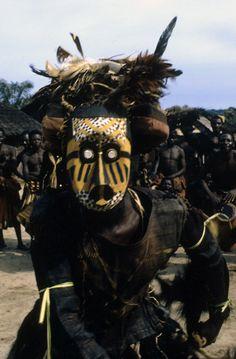 Africa | Pwoom Itok mask dancer, from the Kuba people. Muentshi, Democratic Republic of Congo. 1972 | ©Eliot Elisofon
