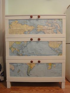 Maybe decoupage outside of dresser instead?
