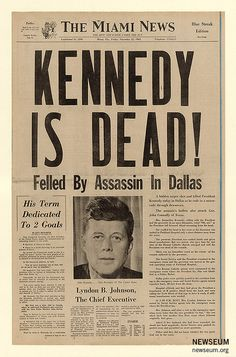 Front page coverage of the presidential assassination in The Miami News. Newseum collection