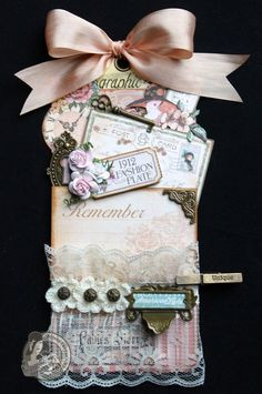 This is a stunning tag by @Arlene Butterflykisses using A Ladies' Diary and Scrapbook Adhesives 3L. Beautiful! #graphic45 #tags