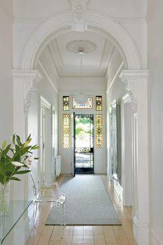 entrance halls in 2019 victorian hallway, Style At Home, Edwardian Haus, Victorian Hallway, Home Design, Interior Design, Interior Decorating, Decorating Ideas, Entry Hallway, White Hallway