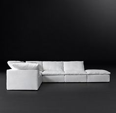 RH Modern's Cloud Modular Fabric Sofa Chaise Sectional:16 STOCKED FABRICS – READYFOR DELIVERY IN 1-2 WEEKSThe world's ultimate sofa, Cloud's modular design nods to the relaxed modernism of the mid-20th century, while its comfort is simply unparalleled. Low frames play clean-lined counterpoint to sink-in, 100% goose feather cushions wrapped in the softest layer of pure down. Easy to customize, three simple slipcovered cubes – corner, armless and ottoman ...