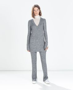 Image 1 of RIBBED FLARED TROUSERS from Zara