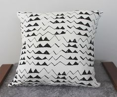 Hand Printed 'Mountain' Pillow in Black on Creme by thiefandbandit, $32.00