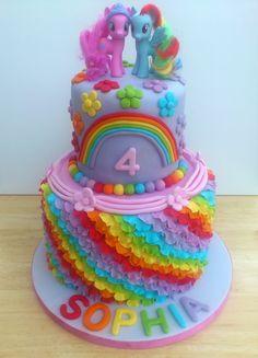 my little pony 2 tier rainbow theme novelty birthday cake