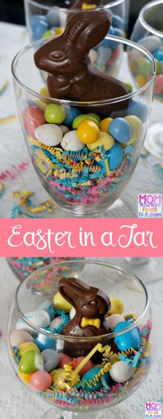 Easy DIY Easter Candy Craft Idea: Easter Candy Jars Edible Easter Decorations Chocolate Bunny Jar Ideas /momfindsout/