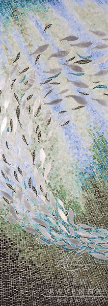 Ellen's Fish, a Jewel glass mosaic, was designed by Ellen McCaleb for New Ravenna Mosaics.
