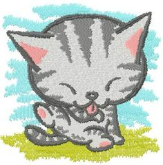 Good morning kitten machine embroidery design. Machine embroidery design. www.embroideres.com
