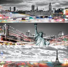 Skylines London, NY, and Paris