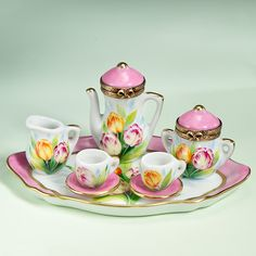 Limoges Tulips Tea Service, & Pink w Gold Trim, Tray, Teapot w Lid, Sugar w Lid, Creamer, Two Cups, Two Saucers.