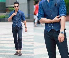 Get this look: http://lb.nu/look/8075456  More looks by Jimmy Lin: http://lb.nu/tsfm  Items in this look:  Uniqlo Denim Shirts, Mido Watches, Jeansda Chinos, 林果良品 Suede Loafers   #dapper #formal