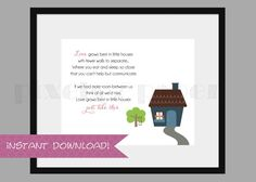 "Printable ""Love Grows Best in Little Houses"" Wall Art Print INSTANT DOWNLOAD"
