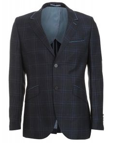 Holland Esquire Navy Blue Jacket, Prince of Wales Check 318 Slim Fit Jacket