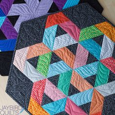 Jaybird Quilts Gazebo Table Topper. Made with Uppercase Fabrics from Windham Fabrics, and the Hex N More Ruler. Available in local & online quilt shops. #JaybirdQuilts  #GazeboQuilt #HexNMore