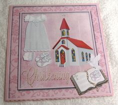 Girls Christening Card Front 2 by margaret scott Christening Card, Christening Headband, Quick Cards, Decoupage Paper, I Card, Handmade Cards, Card Making, Congratulations, Birthday