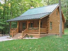 small cottages and cabins decor | Luxurious Log Cabins Design  ||  Cute cabin with metal roof & front porch! :-)