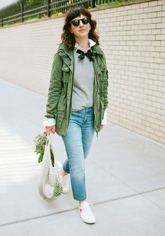 How It's Done: The Gayle Sweater - J Crew blog.   Jessica wears our Gayle tie-neck sweater, Thomas Mason® for J.Crew boy shirt, field mechanic jacket, matchstick jean in Stockdale wash, Jane sunglasses and Comme Des Garçons® low-top sneakers.