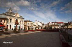The city of Targu Jiu in Romania - Old centre with turn of the century buildings.