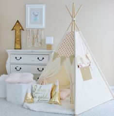 PINK with Gold Glamour Polka Dot Play Tent Canvas Teepee Pink Play Tent Play House Nursery Teepee Tent Kids Teepee Indoor Teepee Kids, Teepee Tent, Teepees, Girls Teepee, Toddler Teepee, Play Tents, Gold Nursery, Little Girl Rooms, My New Room