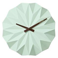 Zegar ścienny Origami ceramic matt mint green by Karlsson Wall Clocks Uk, Green Wall Clocks, Diy Clock, Clock Decor, Origami Furniture, French Clock, Outdoor Clock, Origami Paper Art, Plants