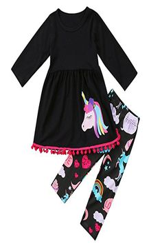 4c1eb9668ae FUNOC Toddler Girls 2 Pc Unicorn Print Tunic Top Outfit Clothes