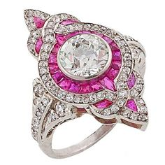 Art Deco Diamond, Ruby  Platinum Ring