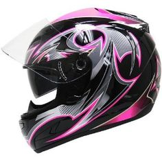 Amazon.com: HAWK Black-Pink-Glossy Full-Face Dual-Visor Ladies Motorcycle Helmet: Automotive