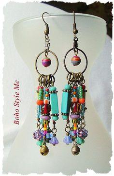 Boho Colorful Fun Earrings Playful Bohemian Dangle Earrings #jewelrymaking
