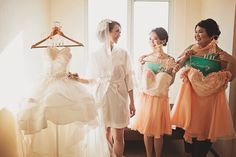 mint green tanks and peach dresses for my bridesmaids