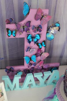 Blue Purple Butterfly First Birthday Party
