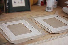 diy-cover old frame mats in burlap, rustic and super cute!