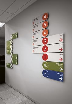 MGC Bistrica / signage system by Vladan Srdic, via Bechance. Especially nice how the arrows and physicality of the signs emphasize the direction and which way you should go. School Signage, Office Signage, Directional Signage, Wayfinding Signs, Design Stand, Booth Design, Design Design, Hospital Signage, Library Signage