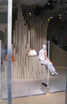 Paper tubes/underwater cavern pop up store Milan