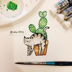Idea Of Making Plant Pots At Home // Flower Pots From Cement Marbles // Home Decoration Ideas – Top Soop Cactus Doodle, Cactus Art, Succulents Drawing, Cat Scratcher, Flower Pots, Cactus Flower, Diy Sewing Projects, Pen And Paper, Easy Drawings