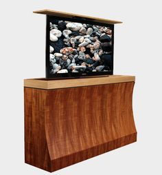 The Bayside motorized TV lift cabinet oozes modern design savvy, from its sharp edges to curvy concave front. As one of our custom modern designs, it can be made with limitless configurations. Tv Cabinets, Custom Cabinets, Modern Tv, Modern Design, Motorized Tv Lift, Hidden Tv, Cabinet Furniture, Cabinet Design, Houzz