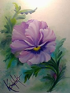 Bob Ross' Pansy step by step painting tutorial @Af's 21/2/13
