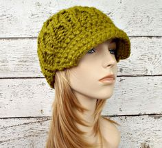 Knit Hat Green Womens Hat Green Newsboy Hat  by pixiebell on Etsy
