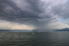 A rain squall on Lac Léman, Switzerland