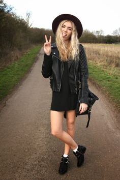 Fashion Blogger Trend Outfit 2014 All Black Everything Leather Biker Jacket Ankle Boots Fedora Hat