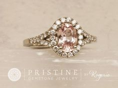 light pink with peach secondary color, VVS, x oval sapphire Setting: white gold, split shank diamond halo mount Accent Diamonds: full cut r Modern Engagement Rings, Gemstone Engagement Rings, Halo Diamond Engagement Ring, Wedding Engagement, Rustic Bridesmaids Gifts, Pink Wedding Rings, Pink Ring, Pink Champagne, Anniversary Rings