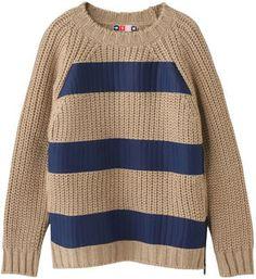 Striped chunky knit / ShopStyle(ショップスタイル): MSGM エムエスジーエム ボーダーローゲージニットプルオーバー  - shopstyle.co.jp
