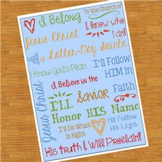 Items similar to I Belong to the Church of Jesus Christ Subway Art on Etsy Lds Primary, Primary Music, Savior, Jesus Christ, Primary Singing Time, Primary Chorister, Different Games, Time Activities, Keep The Faith
